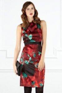Атласное платье с цветочным рисунком